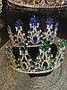 Диадема с синими камнями, тиара высокая, корона на голову , корона на конкурс красоты, фото 7