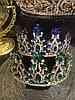 Диадема с синими камнями, тиара высокая, корона на голову , корона на конкурс красоты, фото 8