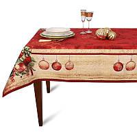 """Новогодняя гобеленовая скатерть с тефлоновой пропиткой """"Рождественские звезды"""" Villa Grazia 140х220"""