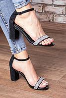 Женские чёрные босоножки в камнях на каблуке. Размеры 36-40, фото 1