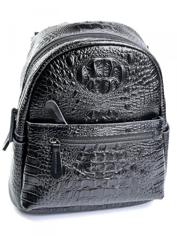 Женский кожаный рюкзак Case кроко 8980 черный