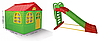 АКЦИЯ НАБОР Детский средний игровой пластиковый домик со шторками и большая пластиковая горка ТМ Doloni