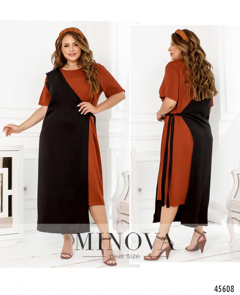 Сукня №2288Б-теракотовий-чорний теракотовий-чорний/50-52