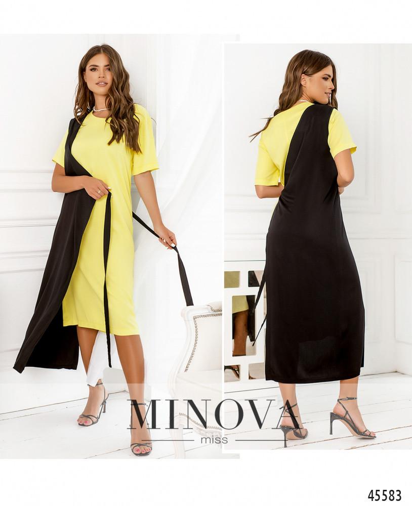 Сукня №2288-лимонний-чорний лимонний-чорний/42-44