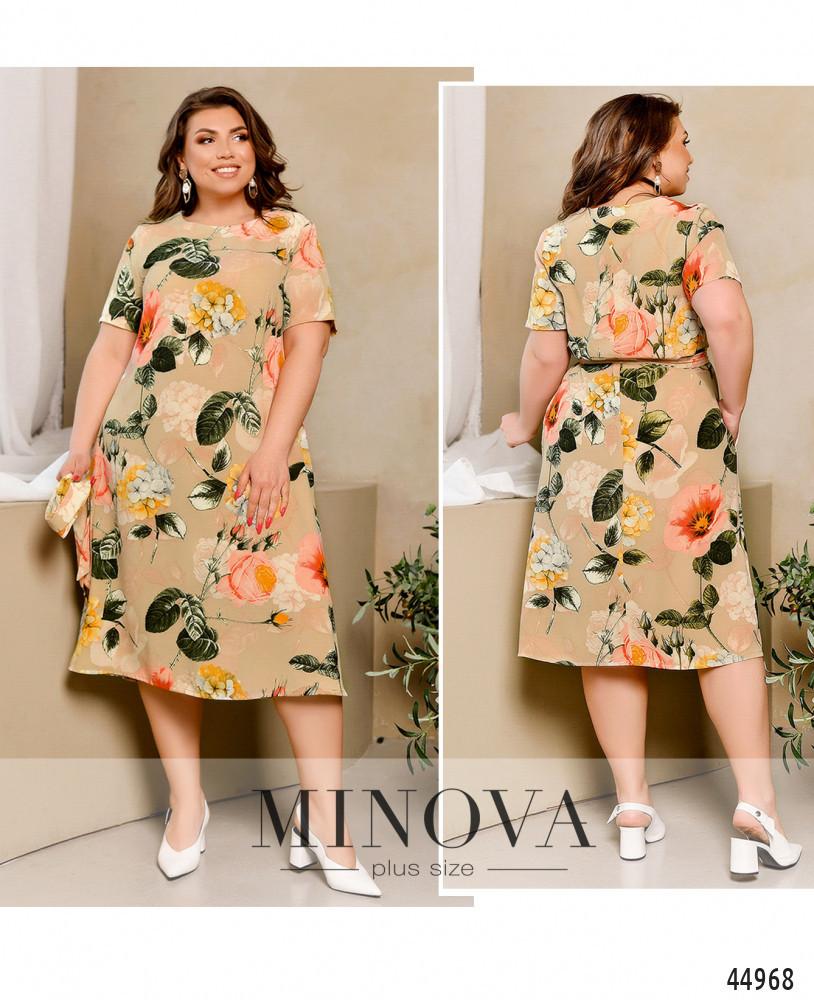 Нежное легкое бежевое платье в цветочек большого размера. Размер: 50-52, 54-56, 58-60, 62-64, 66-68