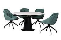 Керамический стол TML-831 бьянко перлино+черный