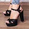 Женские стильные чёрные босоножки на каблуке из эко замши.