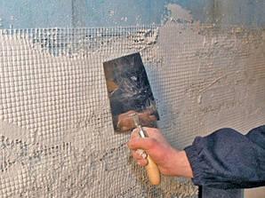 Монтаж сетки под штукатурку (стена)