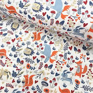Бавовняна тканина Польська, блакитні лосі, лисиці, їжаки на білому