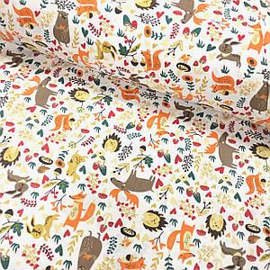 Бавовняна тканина Польська, коричневі лосі, лисиці, їжаки на білому