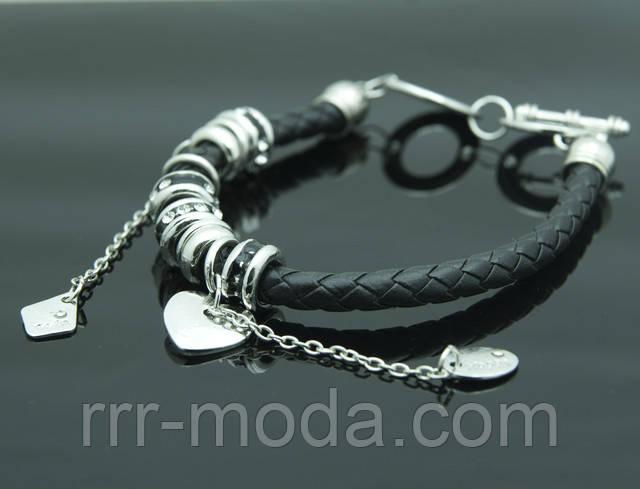 Чёрные кожаные браслеты Пандора оптом.