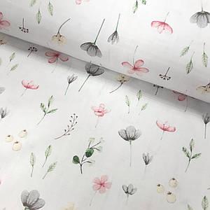 Тканина Польська бавовняна, бутони квіточок на світло-сірому