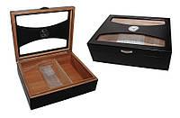 Хьюмидор 09478 для 50 сигар, чёрный, стекло, 33,5х26,5х10 см