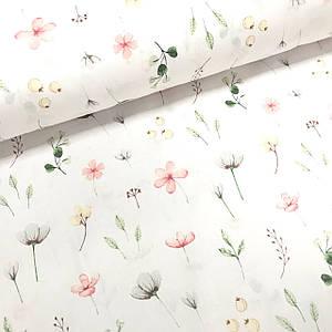 Тканина Польська бавовняна, бутони квіточок на білому
