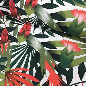 Тканина Польська бавовняна, великі листки рослин червоно-зелені на білому