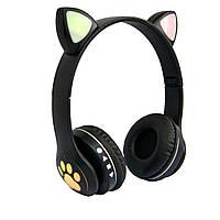 Детские наушники с ушками Cat ear headphones VZV-23M, Черные беспроводные наушники (навушники з вушками) (TI)