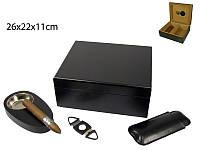 Хьюмидор 92030 для 25 сигар, черный, набор, 26х22,5х11см