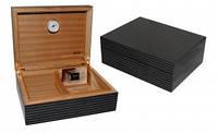 Хьюмидор JEMAR 7103976 для 70 сигар, серая полоса, 28х22х10 см