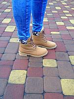 Зимние женские ботинки на меху и шнуровке TIMBERLAND (реплика)