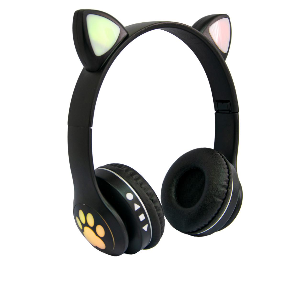 Дитячі навушники з вушками Cat ear headphones VZV-23M, Чорні бездротові навушники (блютуз наушники с ушками)