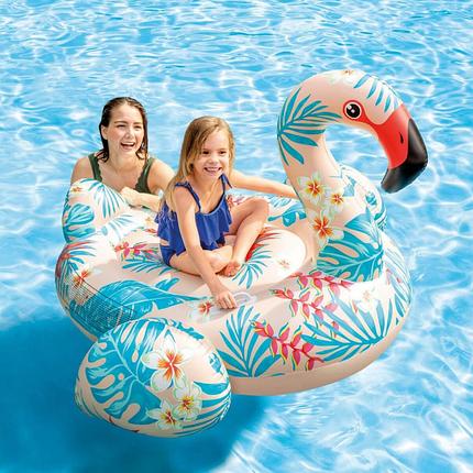 Надувний пліт Фламінго Intex 57559 142х137х97см Дитячий пліт для плавання Тропічний для басейну интекс, фото 2