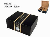 Хьюмидор 92032 д.50 сигар черный, с вставкой 30х24х12,5см