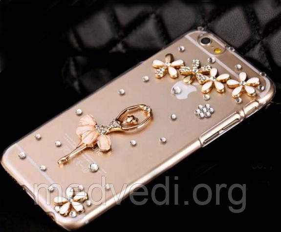 Чехол iphone 6 со стразами, балерина и цветы из камней и страз