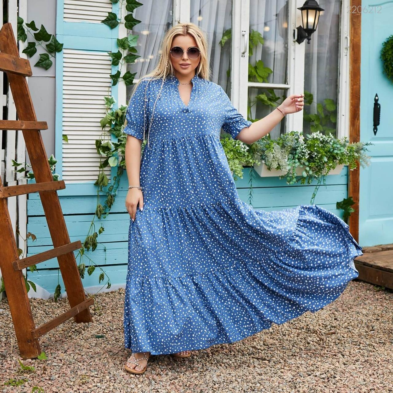 Платье из легкого софта Ларнака  (джинсовый) 48-50-52
