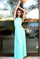 женское Платье в пол легкое мятного цвета