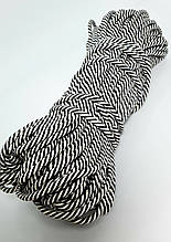 Шнур плетений 5 мм з сердечником Антрацит+айворі смужка