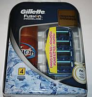 Gillette Fusion Proglide 4 штуки + гель в подарок