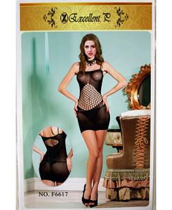 Эротическое платье с крупной сеткой, Excellent F6617