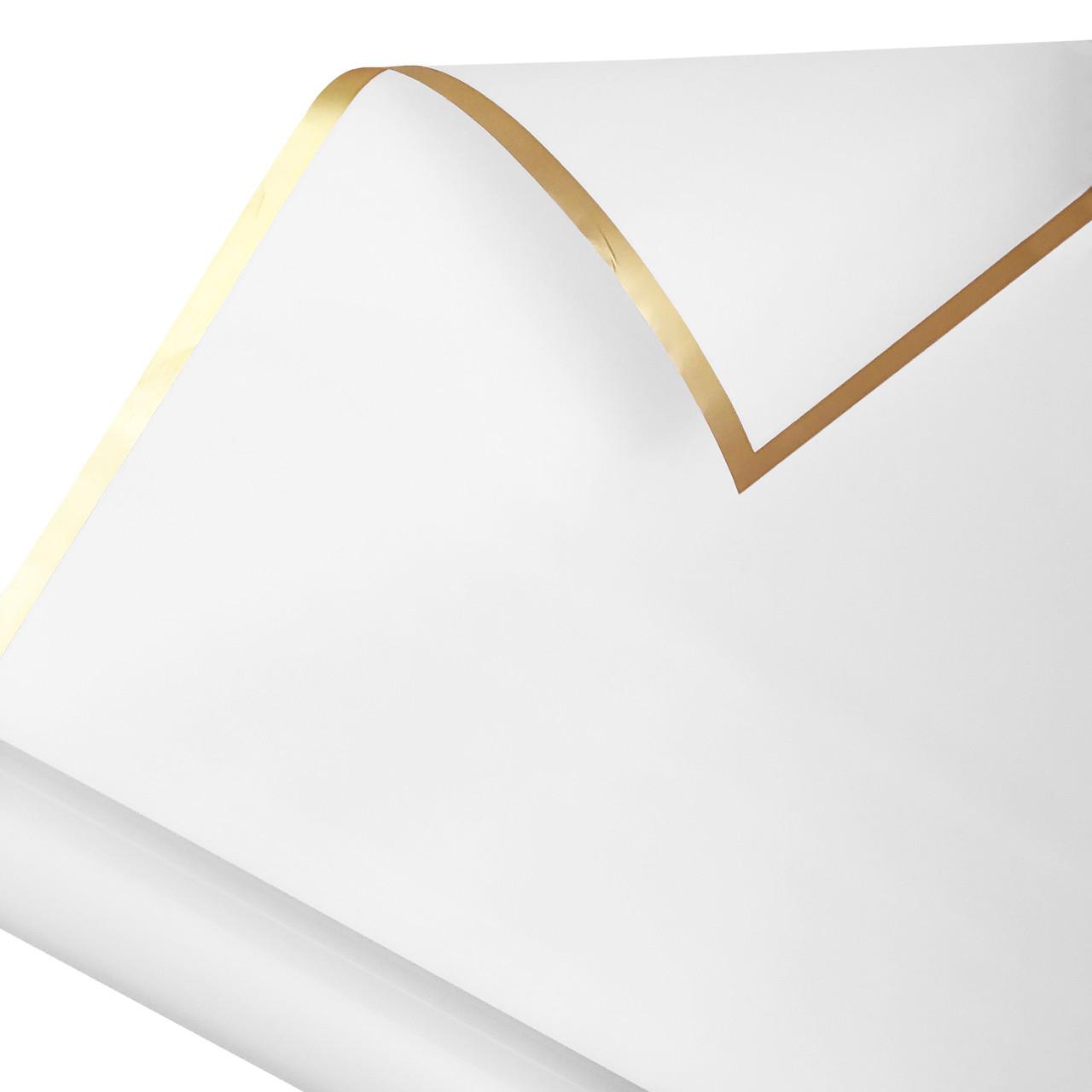 Калька золотий кант в рулоні біла 60*60 см (15 рамок)