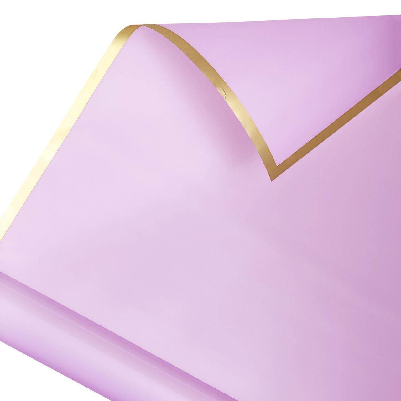 Калька золотой кант в рулоне сиреневая 60*60 см (15 рамок)