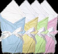 Конверт-одеяло на выписку (летний) в горошек, очень качественный хлопок, на хлопкопоне, с бантом, 70х70