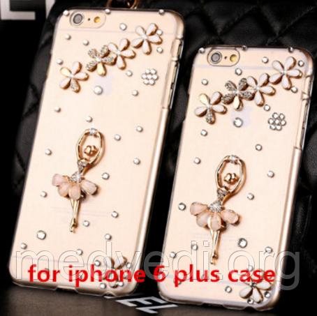 Iphone 6 plus чехол прозрачный со стразами, балерина и цветы с камнями