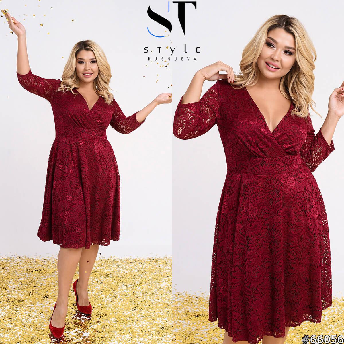 Стильное гипюровое нарядное бордовое платье размеры: 52-54, 56-58, 60-62