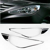 Hyundai Sonata YF 2010-2014 гг. Накладки на фары (2 шт, пласт)