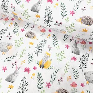 Бавовняна тканина Польська, жовті лисички, їжачки, овечки з рослинами на білому