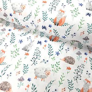 Бавовняна тканина Польська, помаранчеві лисички, їжачки, овечки з рослинами на білому