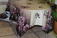 Клеёнка силикон непрозрачная Розы на фиолетовом купоне с серебром