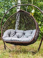 Подвесное двухместное кресло-кокон Дабл Арч со стойкой, до 250 кг, 130*82*135 см, цвет на выбор + Гарантия