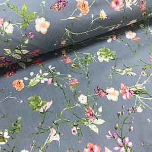 Тканина Польська бавовняна, кущові рослини з фіолетовими метеликами на графітовому