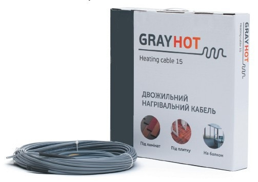 Нагрівальний кабель GrayHot 15, 1068 Вт, 71 м
