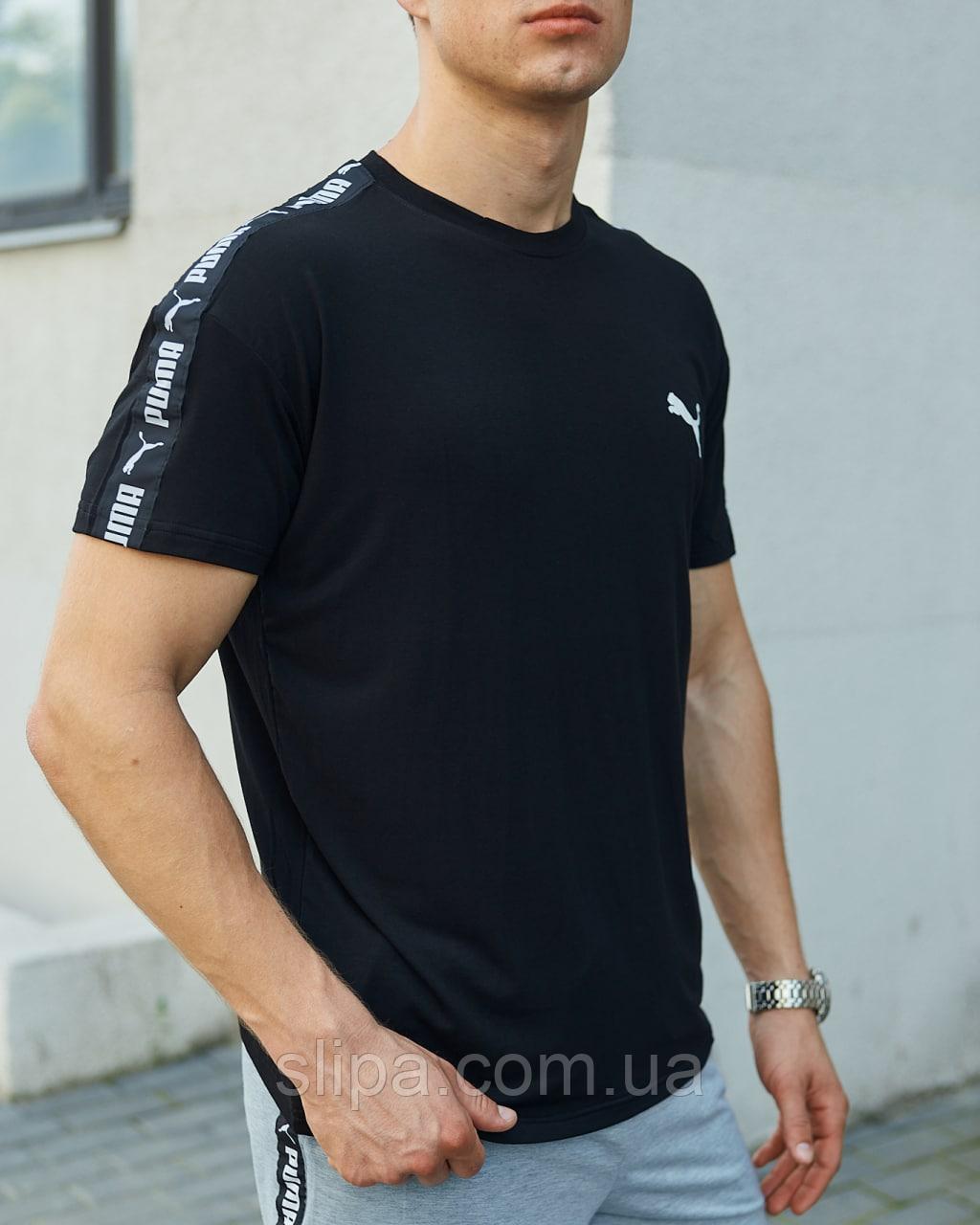 Чорна футболка Puma з лампасом чоловіча