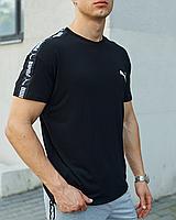 Чорна футболка Puma з лампасом чоловіча, фото 1