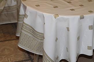 Клеёнка силикон белая в греческом стиле с золотой каёмкой, фото 3