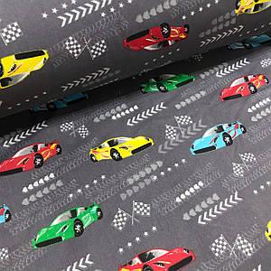 Бавовняна тканина Польська, гоночні машини на сірому