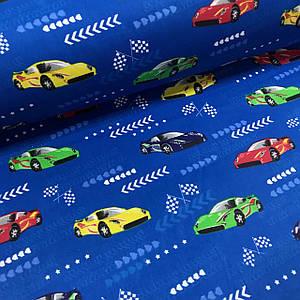 Бавовняна тканина Польська, гоночні машини на синьому