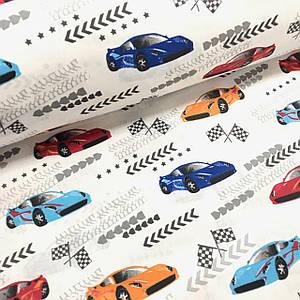 Бавовняна тканина Польська, гоночні машини на білому